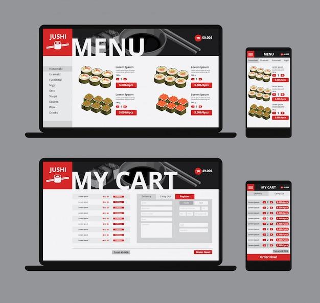 Modelo de loja on-line de comida asiática responsiva