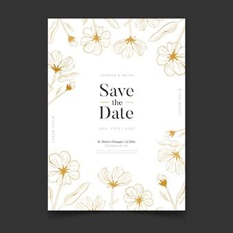 Modelo de luxo de convite de casamento