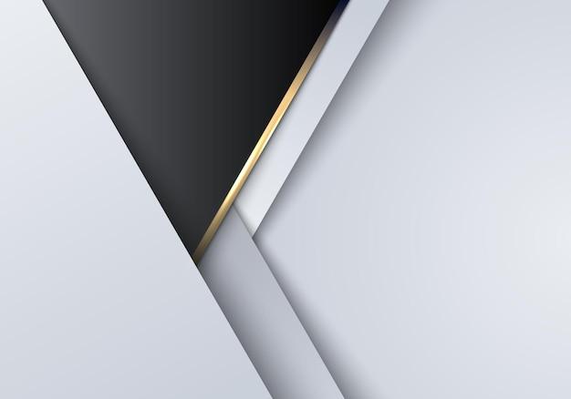 Modelo de luxo moderno abstrato 3d fundo geométrico branco, preto e cinza com linha dourada. ilustração vetorial