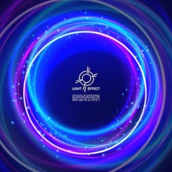 Modelo de luz abstrata brilhante com círculos coloridos de néon brilhante cintilante
