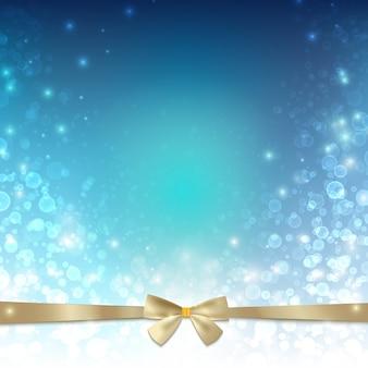 Modelo de luz feliz natal com laço de fita dourada e estrelas brilhantes de bolhas
