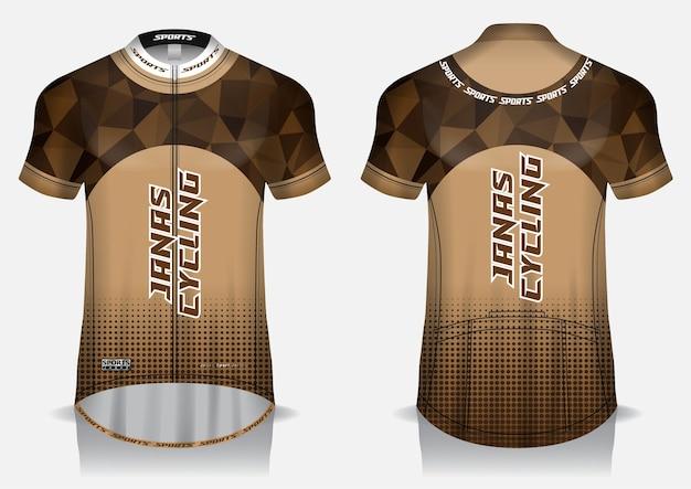 Modelo de malha de ciclismo marrom, uniforme, camiseta frontal e traseira