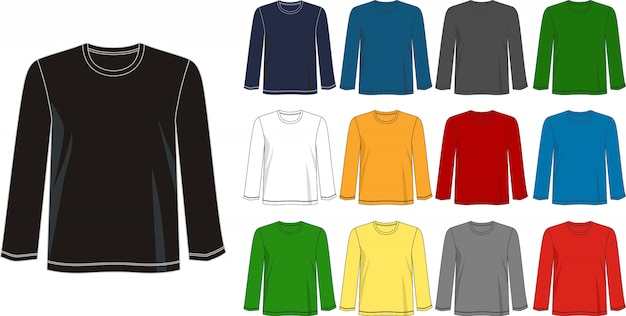 Modelo de manga comprida de camiseta