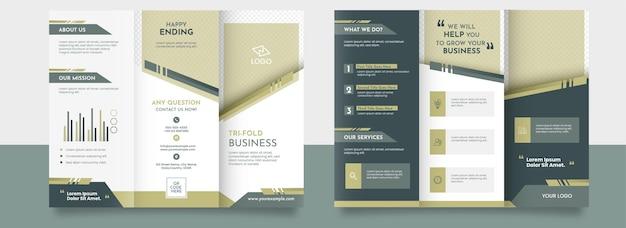 Modelo de maquete de brochura de três dobras na frente e no verso.