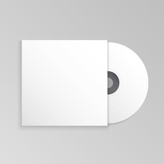 Modelo de maquete de disco compacto e capa