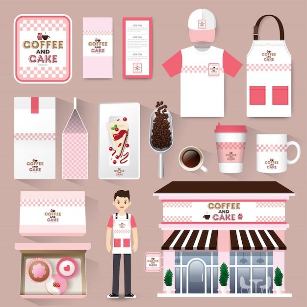Modelo de maquete de identidade corporativa restaurante café