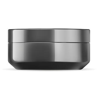 Modelo de maquete de pote de creme cosmético preto brilhante.
