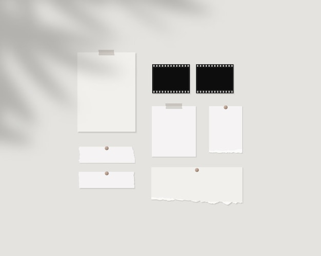Modelo de maquete de quadro de humor folhas vazias de papel branco na parede com sobreposição de sombra vetor de maquete isolado projeto de modelo ilustração em vetor realista