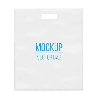 Modelo de maquete de saco de plástico branco em branco vazio.