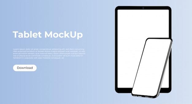Modelo de maquete de smartphone e tablet para apresentação de aplicativo
