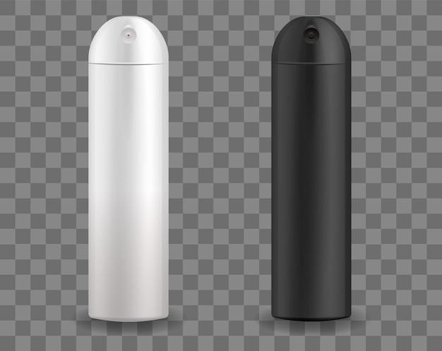 Modelo de maquete de spray preto e branco recipiente para desodorante em spray