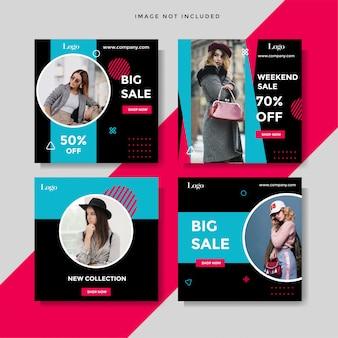 Modelo de marketing de história de feed de venda de moda