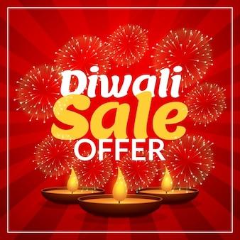 Modelo de marketing de venda com desconto oferta de diwali com diya e fogos de artifício