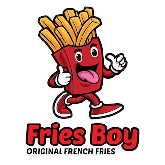 Modelo de mascote com logotipo de menino de batata frita