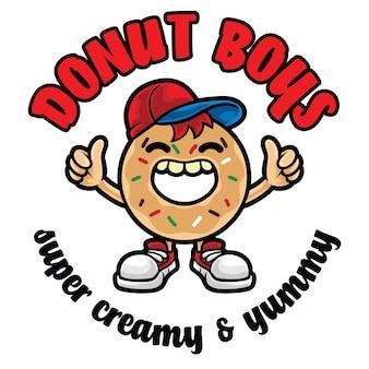 Modelo de mascote com logotipo de menino donut