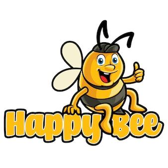 Modelo de mascote de logotipo de abelha feliz