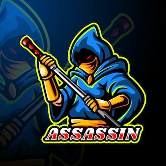 Modelo de mascote de logotipo de assassino esport