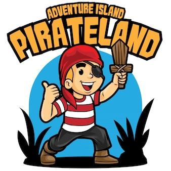 Modelo de mascote de logotipo de aventura em terra pirata