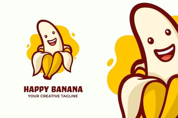 Modelo de mascote de logotipo de banana feliz