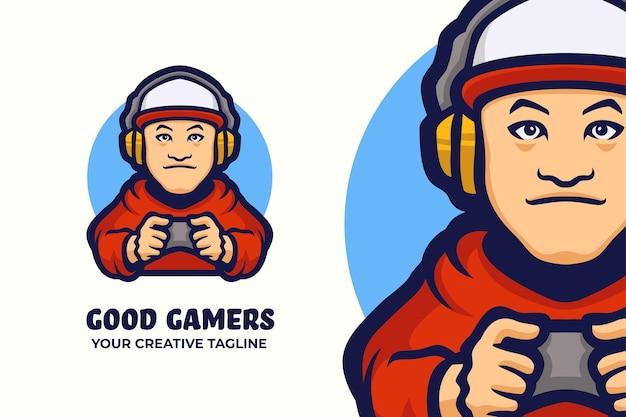 Modelo de mascote de logotipo de gamer boy