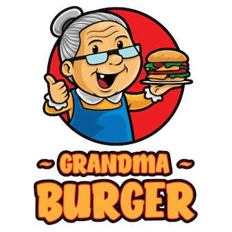 Modelo de mascote de logotipo de hambúrguer da avó