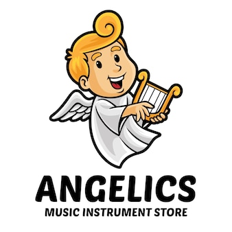 Modelo de mascote de logotipo de loja de instrumentos musicais de anjo