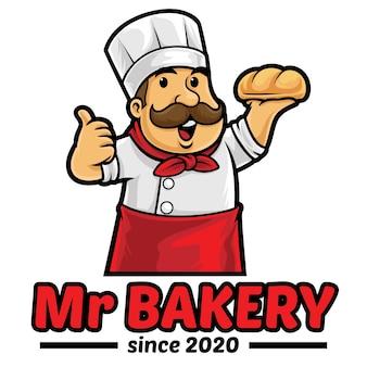 Modelo de mascote de logotipo de pão de padaria
