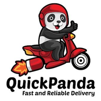 Modelo de mascote de logotipo de serviço rápido da panda