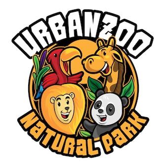 Modelo de mascote de logotipo de zoológico isolado no branco