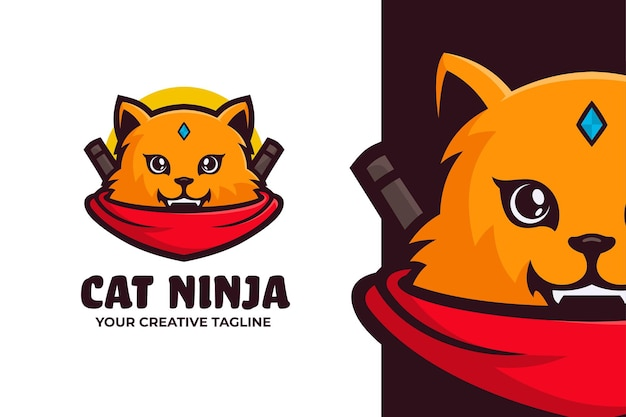 Modelo de mascote do logotipo cat ninja
