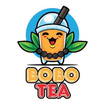 Modelo de mascote do logotipo da bobo tea