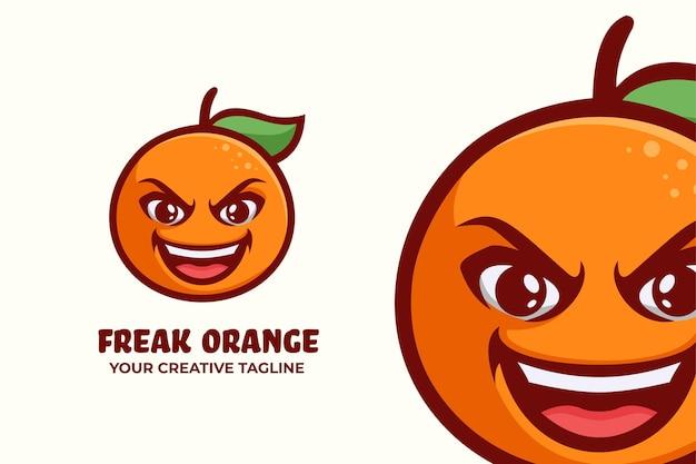 Modelo de mascote do logotipo da freak orange fruit