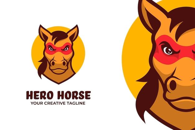 Modelo de mascote do logotipo da superpotência horse hero