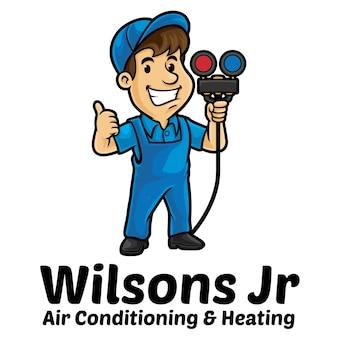 Modelo de mascote do logotipo de serviço de ar-condicionado