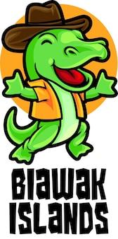 Modelo de mascote do logotipo do biawak dragon island tour