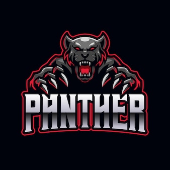 Modelo de mascote do logotipo do black panther e-sports para jogos