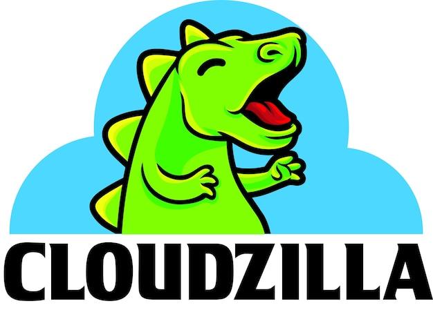 Modelo de mascote do logotipo do cloudzilla digital server