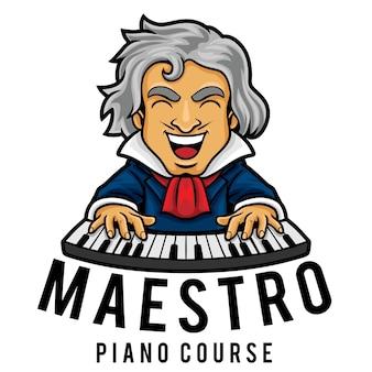 Modelo de mascote do logotipo do curso de piano