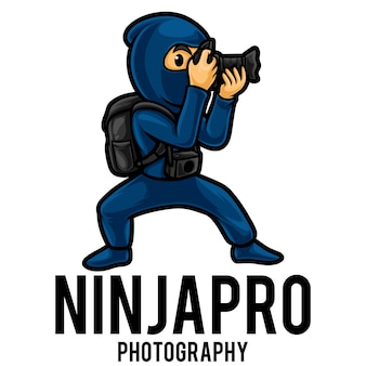 Modelo de mascote do logotipo do fotógrafo ninja