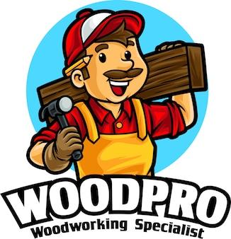 Modelo de mascote para carpintaria madeira trabalhando logo