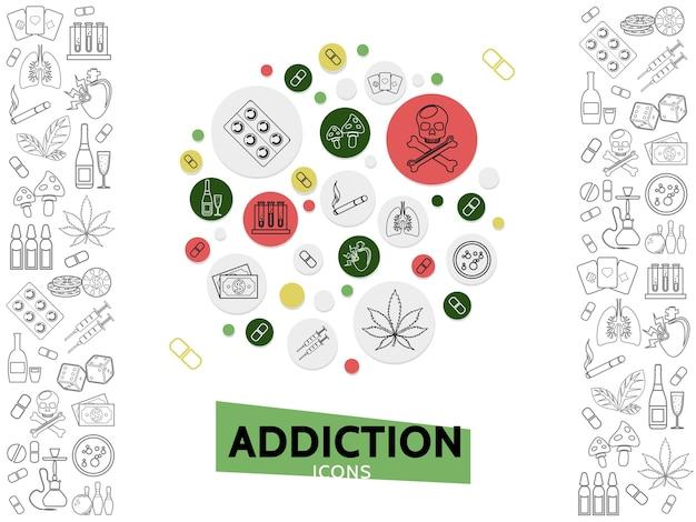 Modelo de maus hábitos com ícones de linha de vícios perigosos e prejudiciais em ilustração vetorial de círculos isolados
