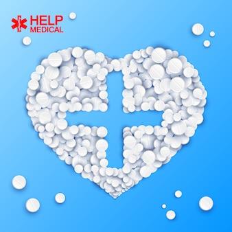 Modelo de medicamento abstrato com forma de coração cruzado de comprimidos em ilustração em azul claro