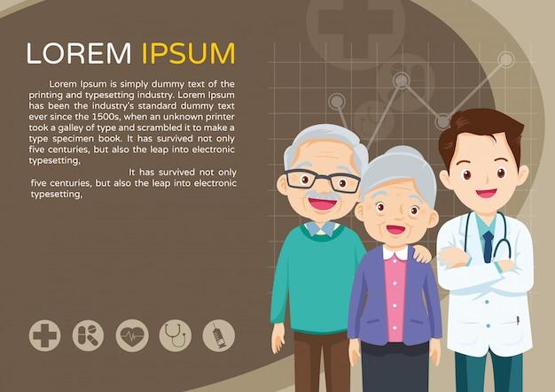 Modelo de médico e idosos