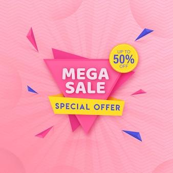 Modelo de mega venda com oferta de 50% de desconto e elementos geométricos