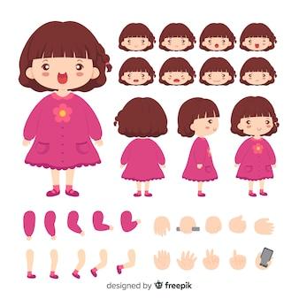 Modelo de menina bonito de personagem de desenho animado