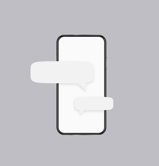 Modelo de mensagens telefônicas. tela branca do smartphone com nuvens de texto com banners aplicativos de internet enviando e recebendo diálogos de conversação