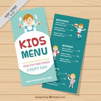 Modelo de menu agradáveis crianças