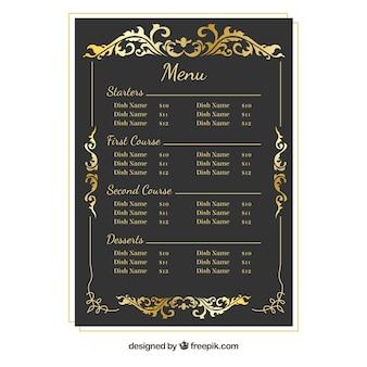 Modelo de menu barroco com moldura dourada