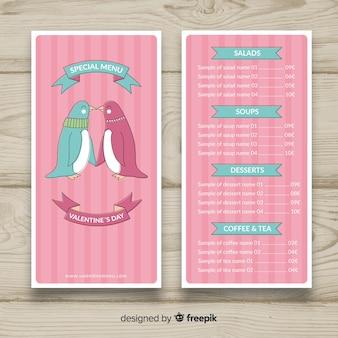 Modelo de menu beijando pinguins dos namorados