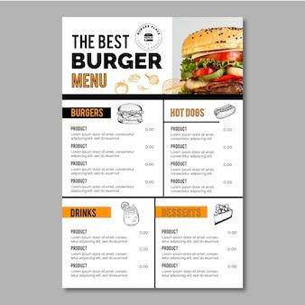 Modelo de menu burger